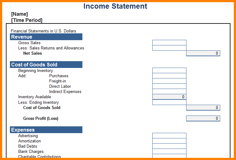 personal income statement template