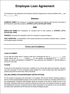 personal loan contract employee loan agreement template free