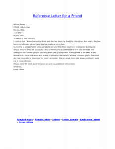 personal reference letter for a friend sample personal reference letter for a friend free sample personal reference letter for a friend
