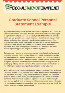 personal statement for graduate school examples accurate graduate school personal statement example