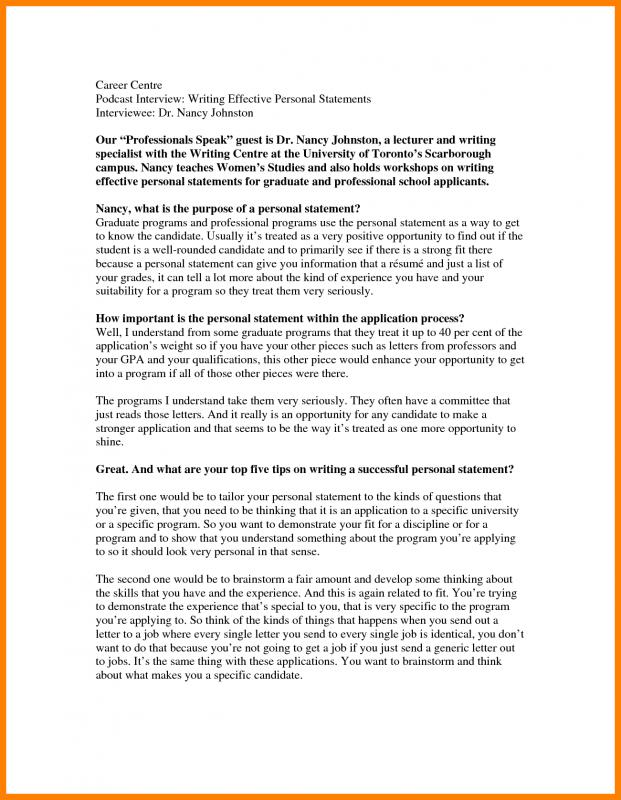 Personal Statement Graduate School  Template Business