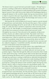 personal statement graduate school graduate school personal statement psychology sample