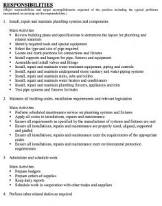personal statement graduate school sample job description plumber