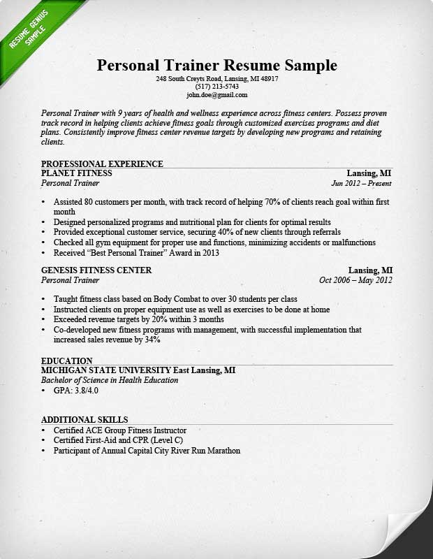 Personal Trainer Resume Template Business - Personal training business plan template