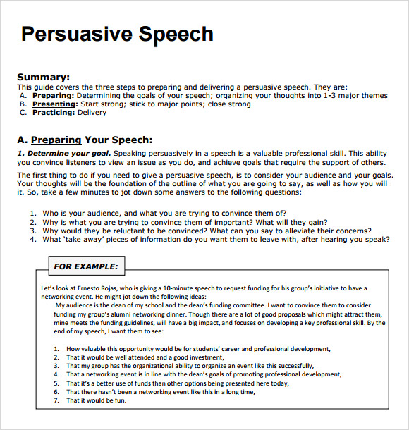 persuasive speech example