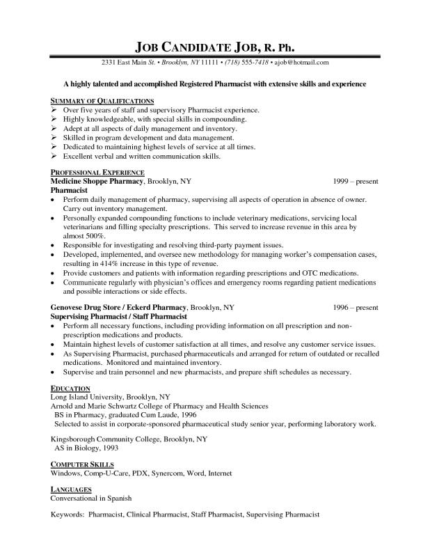 Pharmacist Resume Sample  Template Business