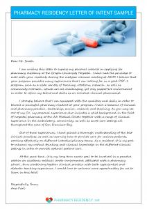 pharmacy residency letter of intent pharmacy residency sample