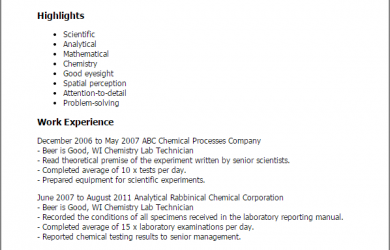 phlebotomy resume sample chemistry lab technician