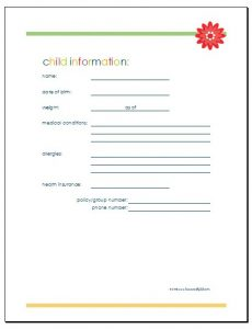 phone log template child information