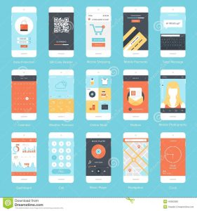 phone message template mobile ui flat vector collection modern phones different user interface elements