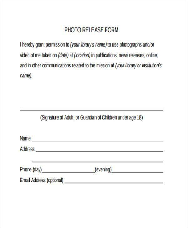 Photo release form template template business for Photography waiver and release form template