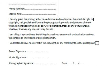 photo release form template model release form
