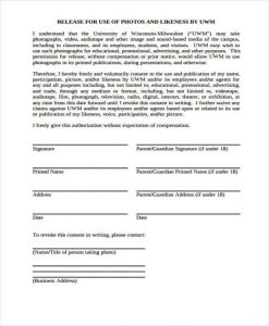 photo release form template simple photo release form template