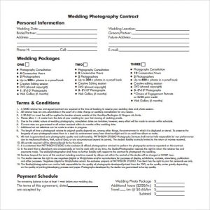photography contract pdf wedding photography contract template
