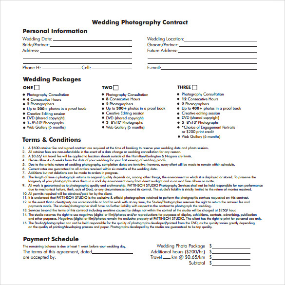 photography contract pdf