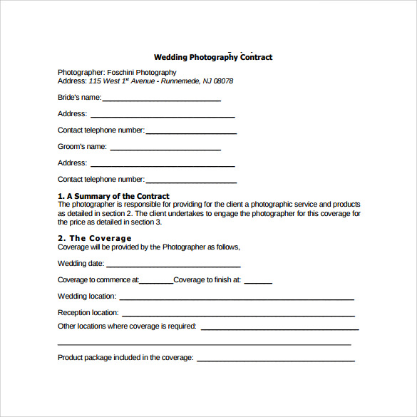 Photography contract template template business for Photographer contracts templates