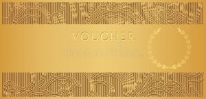 photography gift certificate template gold voucher gift certificate coupon ticket template floral scroll pattern frame border background design invitation