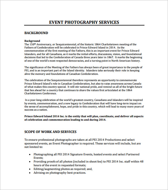 Photography Proposal Template Template Business