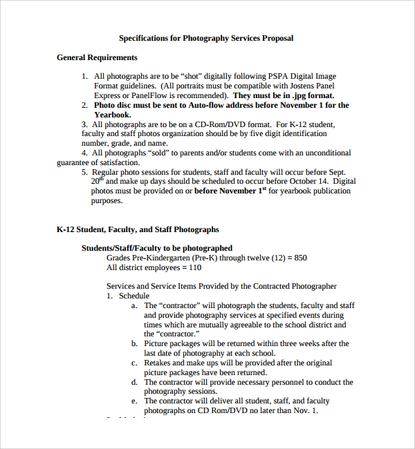 Photography Proposal Template  Proposal Of Services Template