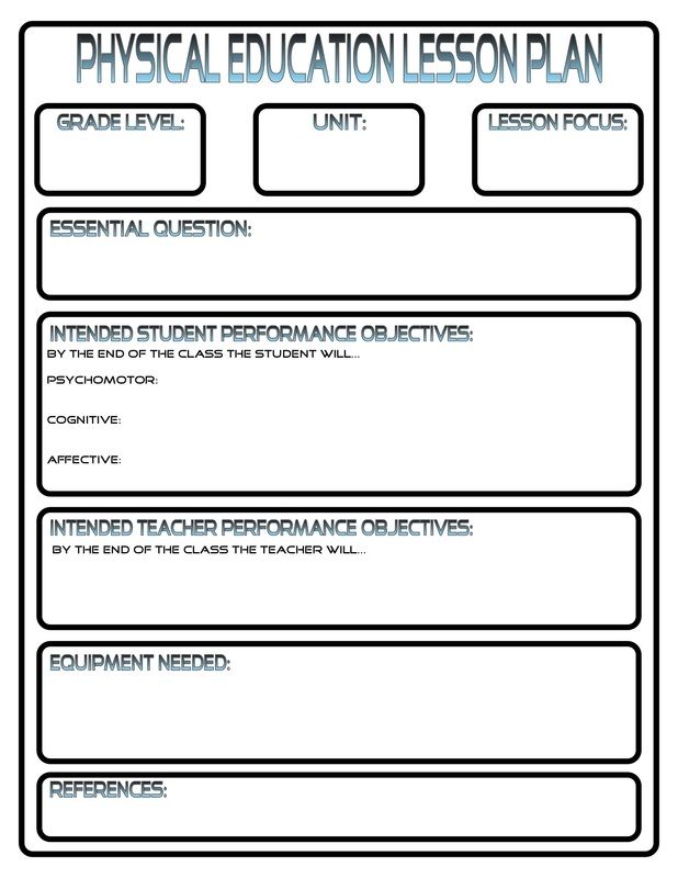 phys ed lesson plan template
