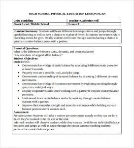 phys ed lesson plan template physical education lesson plan template word