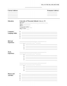 physical therapist resume printable resume forms blank resume templates for students blank