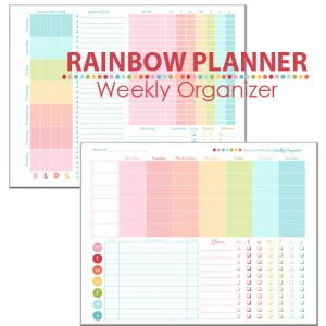 plain menu template rainbow planner weekly organizer