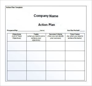 plan of action template company action plan template