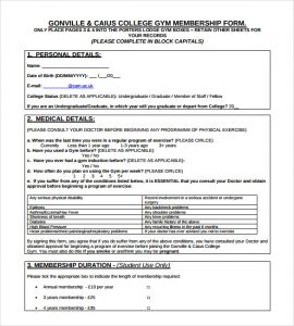 planet fitness cancellation form pdf college gym membership form template