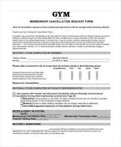 Planet Fitness Cancellation Form Pdf Template Business