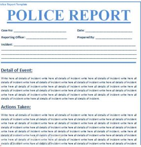 police report template police report template