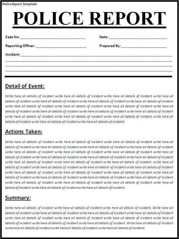 Police Report Template  Template Business