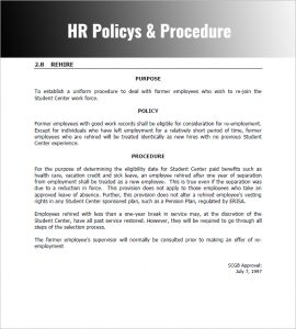 Policies and procedures template template business for Hr sop template