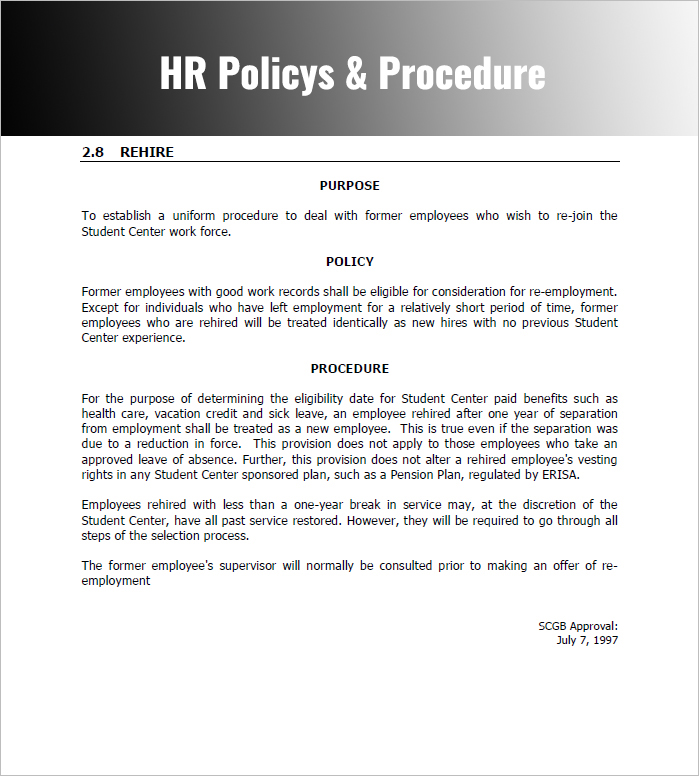 Policies And Procedures Template  Template Business