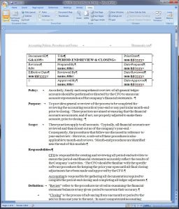policies and procedures template period end review and closing policy and procedure word template
