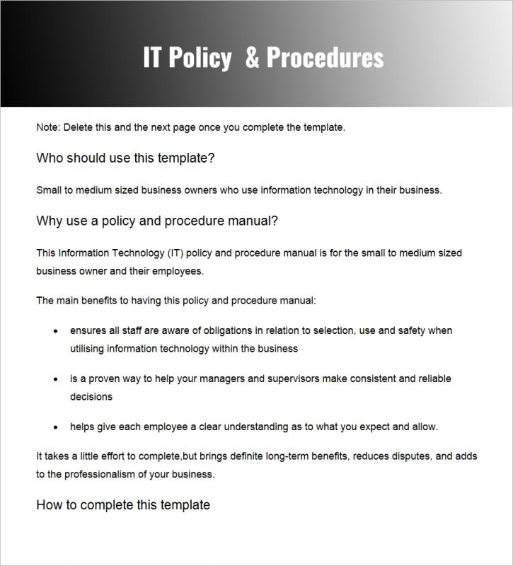 Policies and procedures template template business for It operations manual template