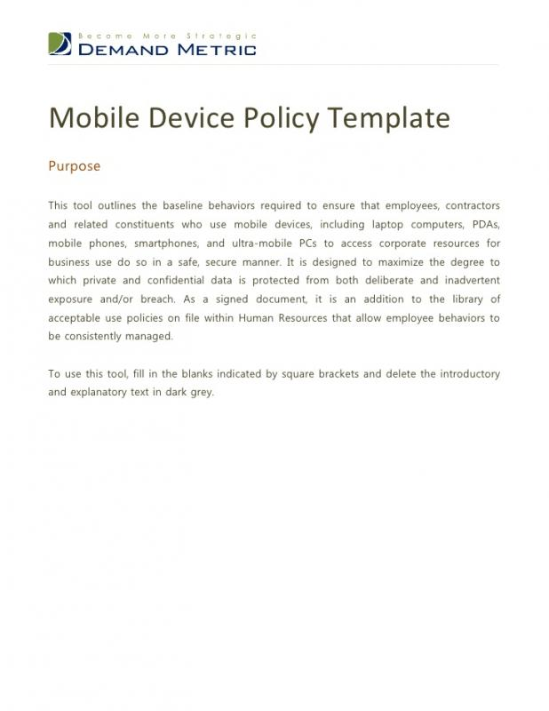 Policy memo template template business for Mobile device management policy template