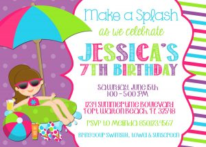 pool party invite template pool party invitation wording template markitd