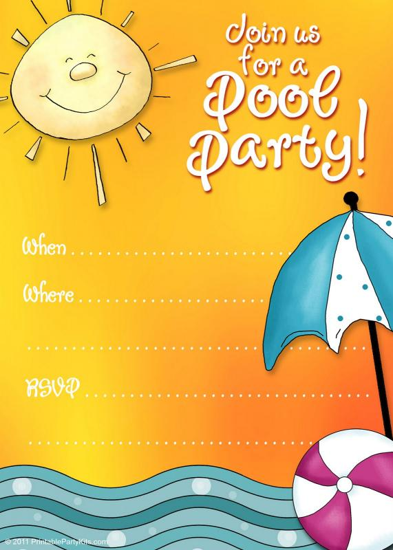 pool party invite template template business