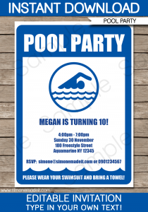 pool party invite template printable pool party invitation template
