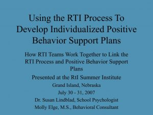 positive behavior support plan using the rti process to develop individualized positive behavior support plans l