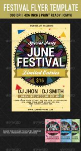 postcard template photoshop festival party june flyer poster template preview