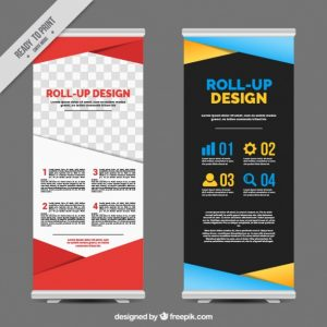 poster template free download business roll up with colorful geometric shapes
