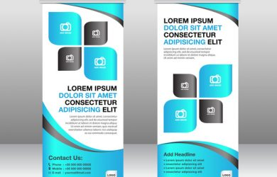 poster template free download roll up banner stand template blue styles vector