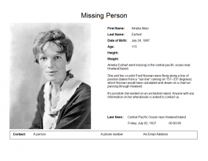 poster template word earhart amelia missing