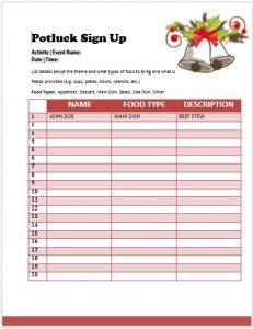 pot luck sign up sheet christmas potluck sign up sheet