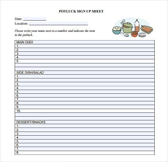 pot luck sign up sheet