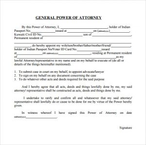 power of attorney example example of general power of attorney form
