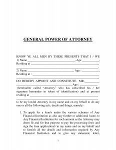 power of attorney example power of attorney