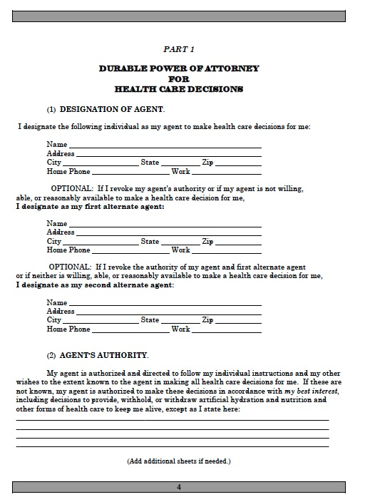 power of attorney form free printable